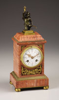 Decorative Arts, French:Other , A French Marble and Gilt Bronze Mantle Clock. Richond, Paris,France. Circa 1880-1900. Gilt and patinated bronze, marble, ...