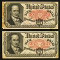 Fractional Currency:Fifth Issue, Fr. 1381 50¢ Fifth Issue Two Examples Very Fine.. ... (Total: 2notes)