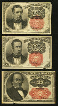 Fractional Currency:Fifth Issue, 10¢ and 25¢ Fifth Issue Notes Fine or Better.. ... (Total: 3 notes)