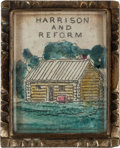 Political:Small Miscellaneous (pre-1896), William Henry Harrison: Hand-colored Log Cabin Brooch....