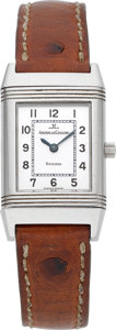 Timepieces:Wristwatch, Jaeger LeCoultre Ref. 260.8.86 Lady's Stainless Steel Reverso,circa 1995. ...