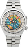 "Timepieces:Wristwatch, Edox ""Geoscope 42"" Ref. 200170 Steel World Time Automatic, circa1970's. ..."