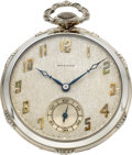 Timepieces:Pocket (post 1900), Howard 14k White Gold Gent's Watch, Box & Papers. ...