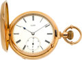 Timepieces:Pocket (pre 1900) , A. Lange & Sohne Early First Quality Rose Gold Hunters Case,circa 1878. ...