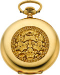 Timepieces:Pocket (post 1900), Swiss Rare 18k Gold Carnegie Foundation Presentation Pocket Watch,Original Box, circa 1928. ...