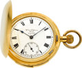 Timepieces:Pocket (pre 1900) , Swiss 18k Gold Quarter Hour Repeater, Wm. Kaufmann Geneve 1st Quality, circa 1895. ...