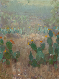 JULIAN ONDERDONK (American, 1882-1922) Texas Cactus in Bloom, 1921 Oil on canvas 16 x 12 inches (