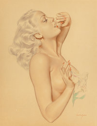 ALBERTO VARGAS (American, 1896-1982) Nude with Lily Flower Watercolor and pencil on paper 17 x 13