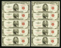 Small Size:Legal Tender Notes, Fr. 1534 $5 1953B Legal Tender Notes. Ten Consecutive Examples. Choice Crisp Uncirculated.. ... (Total: 10 notes)