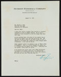 Baseball Collectibles:Others, 1947 Billy Evans Signed Typed Letter. Tough Hall Of Famer!!...