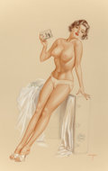 "Pin-up and Glamour Art, ALBERTO VARGAS (American, 1896-1982). ""He said that NiagaraFalls is a source of power,"" Playboy illustration, June 1962..."