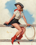 "Pin-up and Glamour Art, GIL ELVGREN (American, 1914-1980). ""Hi-Ho, Silver!,"" Brown &Bigelow calendar illustration, 1969. Oil on canvas. 30 x 24..."