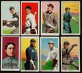 Baseball Cards:Lots, 1909-11 T206 Sweet Caporal Group (8) - With HoFers, Print Error andOverprint! ...