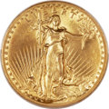 High Relief Double Eagles, 1907 $20 High Relief, Flat Rim MS62 PCGS....