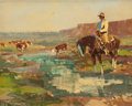 Paintings, JAMES REYNOLDS (American, 1926-2010). Cowboy Watching the Herd. Oil on board. 16 x 20 inches (40.6 x 50.8 cm). ... (Total: 2 Items)
