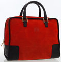 Luxury Accessories:Bags, Loewe Red Suede & Black Leather Amazona Tote Bag . ...