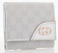 Luxury Accessories:Bags, Gucci Silver Monogram Canvas & Leather Trifold Wallet. ...