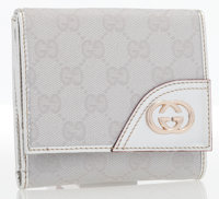 Gucci Silver Monogram Canvas & Leather Trifold Wallet