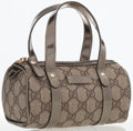 Luxury Accessories:Bags, Gucci Metallic Silver Leather & Waxed Monogram Canvas Joy Boston Bag. ...