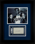 Baseball Collectibles:Others, Sandy Koufax Signed Index Card Display....