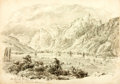Books:Original Art, [Original Art]. [Artist Unknown]. Small Original Pencil Sketch of The Linth Valley. [N.p., n.d.]. Measures approximately 7.5...