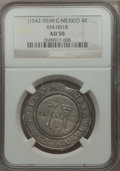 Mexico, Mexico: Carlos & Joanna 4 Reales ND (1542-55) M-G AU50 NGC,...