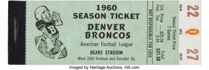 football collectiblestickets 1960 denver broncos afl opening season full ticket booklet