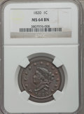 Large Cents, 1820 1C Large Date, N-11, R.2, MS64 Brown NGC....