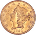 Liberty Double Eagles, 1854 $20 Large Date AU58 NGC....