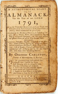 Books:Americana & American History, [Almanac]. Osgood Carleton. An Astronomical Diary: or, anAlmanack for the year 1791. Boston: Samuel Hall, [1791]. O...