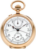 Timepieces:Pocket (post 1900), C.L. Guinand Rose Gold Split Seconds Chronograph With Register,circa 1905. ...
