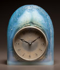 Art Glass:Lalique, R. LALIQUE OPALESCENT GLASS DEUX COLOMBES CLOCK WITH BLUEPATINA. Circa 1926. Molded R. LALIQUE, FRANCE. With o...