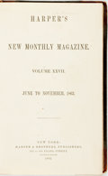 Books:Periodicals, [Bound Periodical]. Harper's New Monthly Magazine. Volume27, June to November, 1863. New York: Harpers, 1863. Half ...