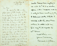 [Featured Lot]. George Bernard Shaw Autograph Letter Signed. June 23, 1893. Two integral leaves, featuring Shaw's let