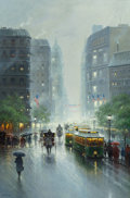 Western:20th Century, G. (GERALD HARVEY JONES) HARVEY (American, b. 1933). Showers onBroadway, 1992. Oil on canvas. 61 x 39 inches (154.9 x 9...