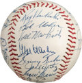 Autographs:Baseballs, 1957 Cleveland Indians Team Signed Baseball With Roger Maris....