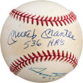 Autographs:Baseballs, Circa 1990 Mickey Mantle & Willie Mays Signed Baseball....