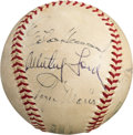 Autographs:Baseballs, Late 1970's Yankee Greats Multi Signed Baseball With Roger Maris,Reggie Jackson, Whitey Ford & Others....