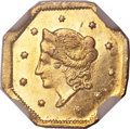 California Fractional Gold , 1854 $1 Liberty Octagonal 1 Dollar, BG-507, High R.6, MS64 NGC....