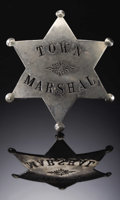 Western Expansion:Cowboy, TOWN MARSHAL STOCK BADGE CIRCA 1900-1915 - A rare example of theWestern Town Marshal stock badge title, which typically den...