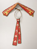 American Indian Art:Beadwork, A SIOUX QUILLED HIDE COLLAR AND NECK TIE. . c. 1920. ... (Total: 2Pieces)
