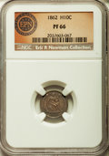 Proof Seated Half Dimes, 1862 H10C PR66 NGC. V-3....