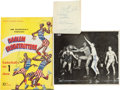 Basketball Collectibles:Programs, 1958-59 Harlem Globetrotters Signed Page, Program & Photographwith Wilt Chamberlain Lot of 3....