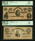 Confederate Notes:1864 Issues, T65 $100 1864 PF-2 Cr. 493;. T66 $50 1864 PF-3 Cr. 497.. ... (Total: 2 notes)