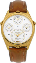 "Timepieces:Wristwatch, Breitling Rare & Unusual Ref. 80840 ""World"" 18k Gold Four TimeZone Gent's Wristwatch. ..."