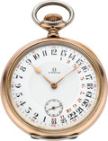Timepieces:Pocket (post 1900), Omega Rare Silver & Gilt Pocket Watch With 24 Hour Day/NightDial, circa 1916. ...