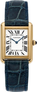 Timepieces:Wristwatch, Cartier Ref 2743 Gent's 18k Gold & Steel Tank Wristwatch. ...