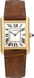 Timepieces:Wristwatch, Cartier Ref. 2441 Gent's Gold Tank Wristwatch. ...