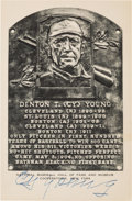 Autographs:Post Cards, Circa 1950 Cy Young Signed Black & White Hall of Fame Plaque....