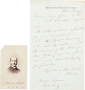 Autographs:Military Figures, Union Lieut. Col. Theodore Lyman, Aide to General George Meade, 1864 Letter & CDV....